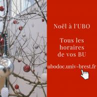 Noël dans les BU Horaires sur Ubodoc